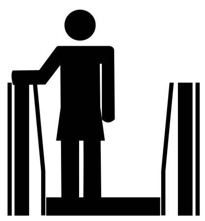 여자 또는 스틱을 타거나 에스컬레이터를 타고 스틱 일러스트