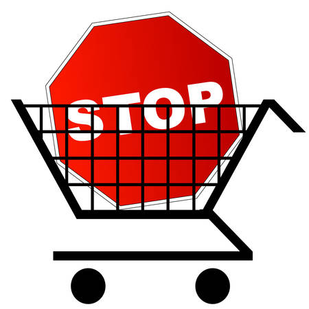 shopping cart with red stop sign in the cart