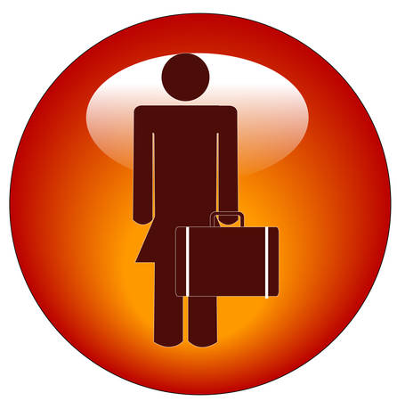 stick figure of woman standing holding a briefcase button or icon