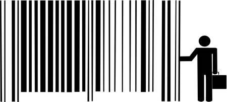 man met aktetas leunend tegen streepjes code