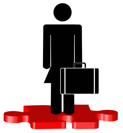 stick woman or figure with briefcase standing on red puzzle piece