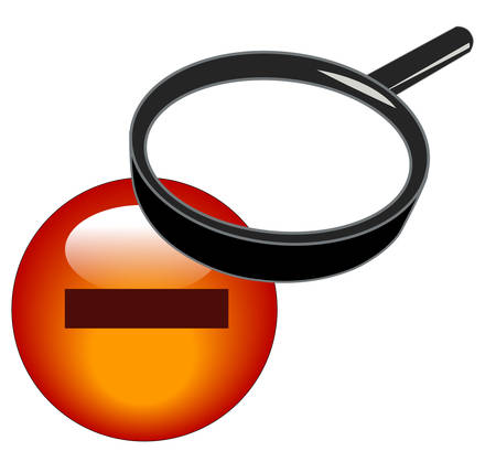 magnifying glass over minus button - zoom out icon