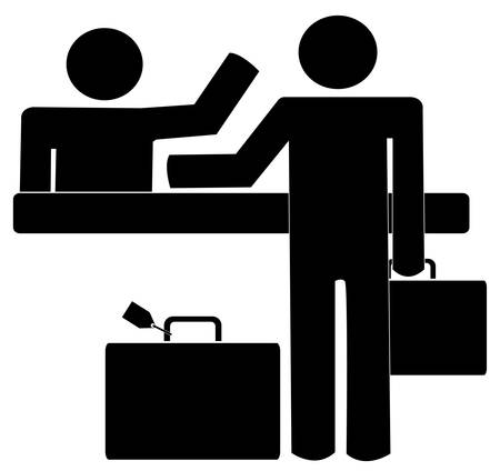 business man with briefcase and luggage getting help and counter