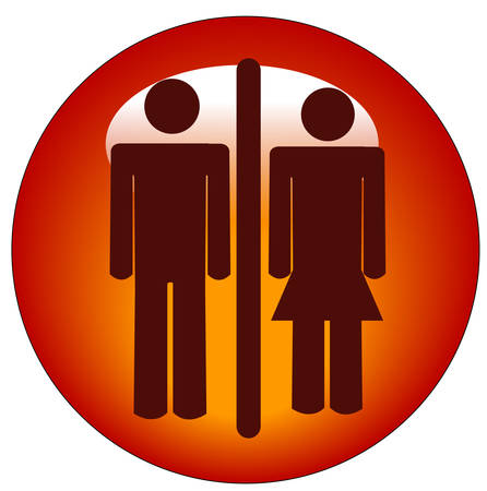 red stick figure man and woman or couple on round button or icon