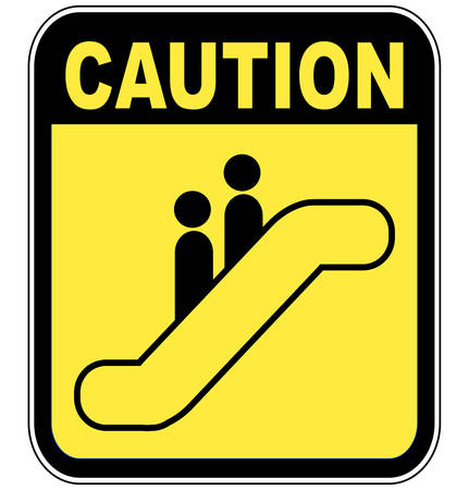yellow caution sign warning people to be careful on the escalator