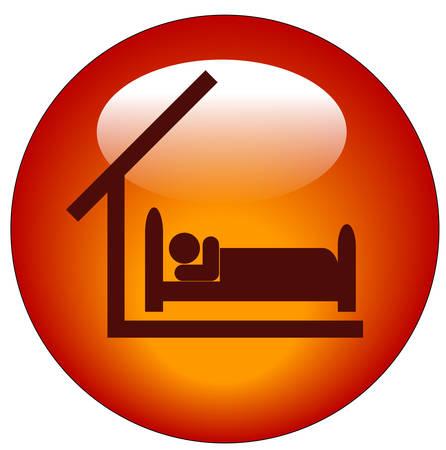 rode knop of pictogram voor beschikbare slaapkamer - concept voor hotel of motel