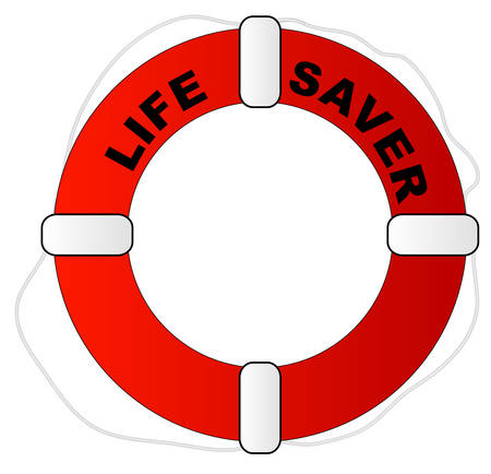 red and white life preserver with words life saver