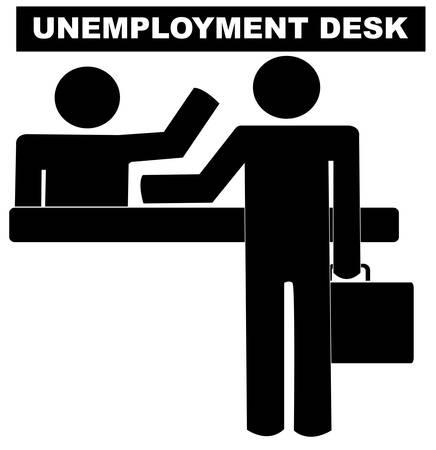 hombre de pie con maletín en el escritorio de desempleo obtener ayuda