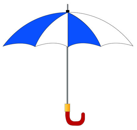 湾曲したハンドルを持つ白と青のストライプの傘