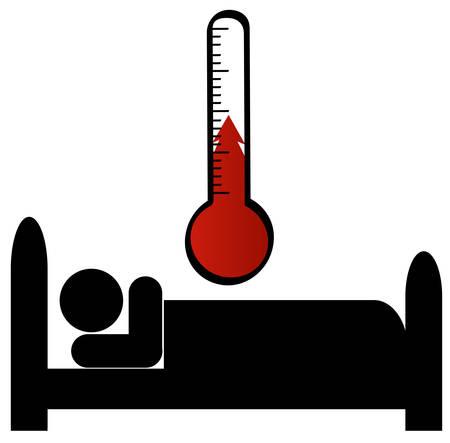 Stick man of cijfer in bed zieke met de temperatuur
