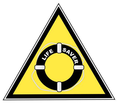 ライフ セーバーまたはガード シンボルと黄色の警告記号  イラスト・ベクター素材