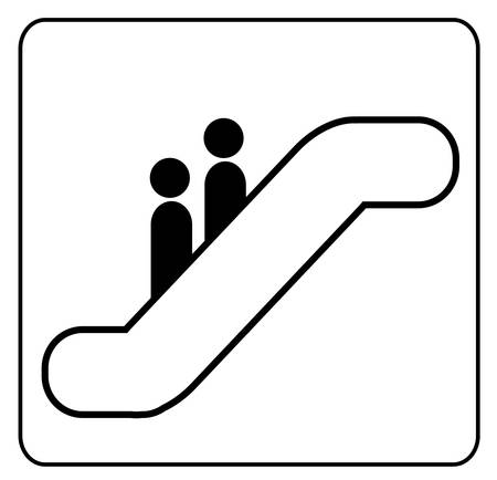 sign showing two people riding on an escaltor