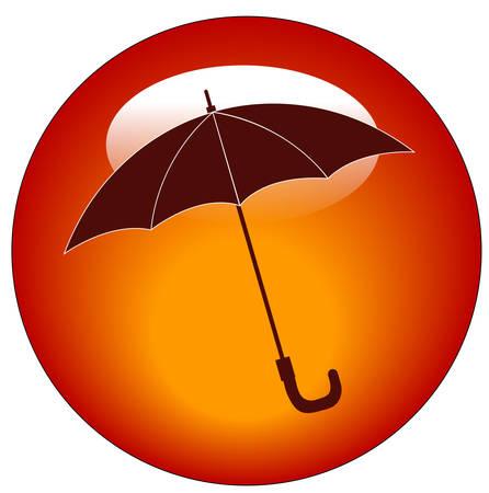 赤い傘の web ボタンまたはアイコン - 雨の天候の概念