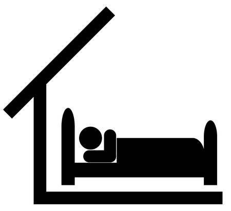 silhouette of person in bed with roof over the head  Ilustrace