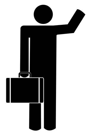 business man carrying a  briefcase waving - illustration Illustration