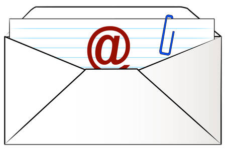 omhulsel gevuld met brief klaar voor e-mail