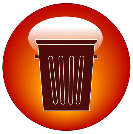 empty trash can button or icon - vector