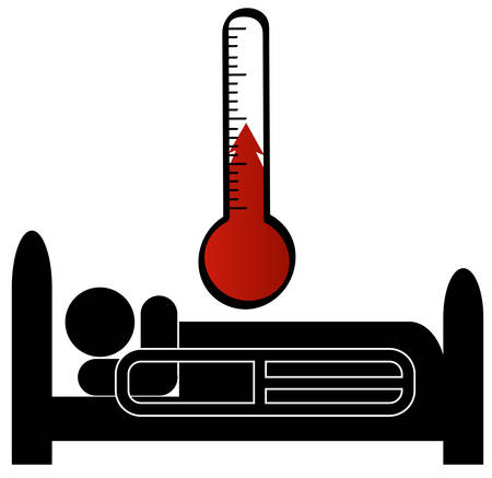 stick man or figure in hospital bed sick with temperature
