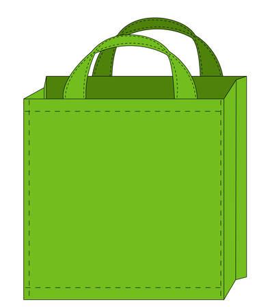 illustration of a green reusable shopping bag  Ilustracja