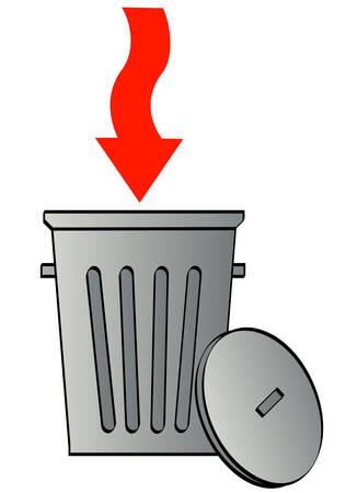 Poubelle avec flèche rouge pointant dans les ordures Banque d'images - 3346686