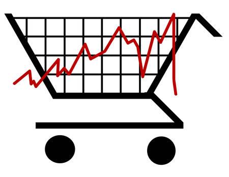 bar graph made out of a shopping cart