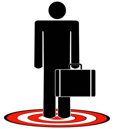 homme d'affaires ayant qualité pour agir serviette sur cible