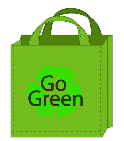 illustration of a reusable shopping bag with go green on the front of the bag