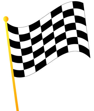 waving checkered flag on white background - vector Ilustracja