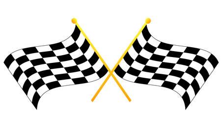 두 교차하는 흔들며 흑백 체크 무늬 깃발 - 벡터
