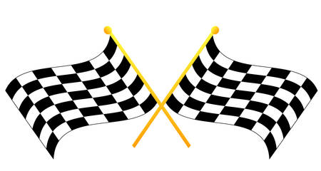 two crossed waving black and white checkered flags - vector Ilustrace