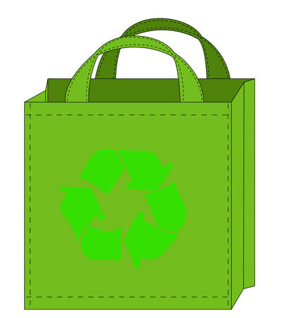 illustration of a reusable shopping bag with recycle symbol Ilustrace