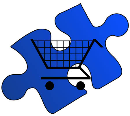 shopping cart on a blue puzzle piece