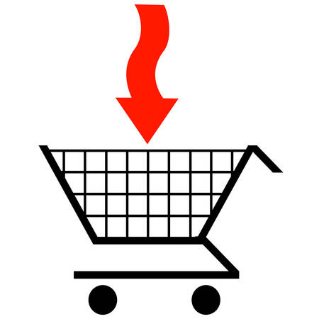shopping cart with red arrow pointing the way into cart Illusztráció