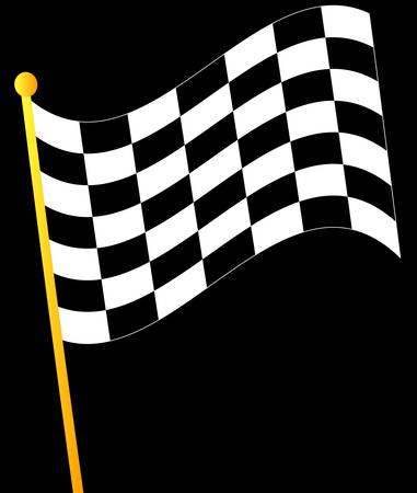검정색 배경에 체크 무늬 깃발을 흔들며