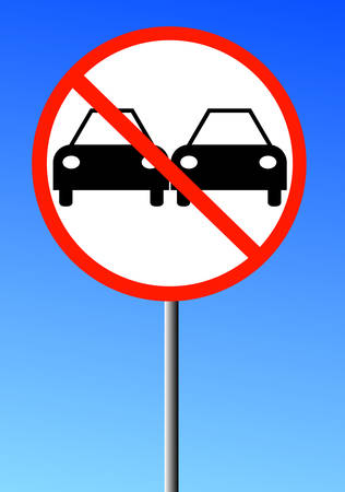 illustration of no passing road sign with two cars against a blue sky Иллюстрация
