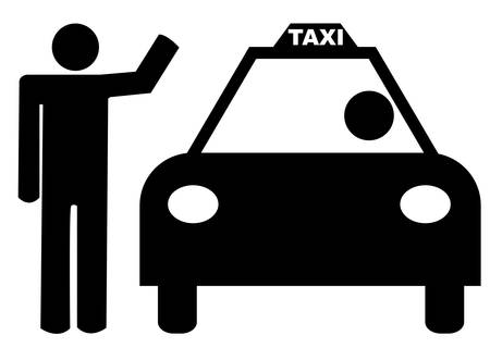 person with arm up hailing a taxi Illustration