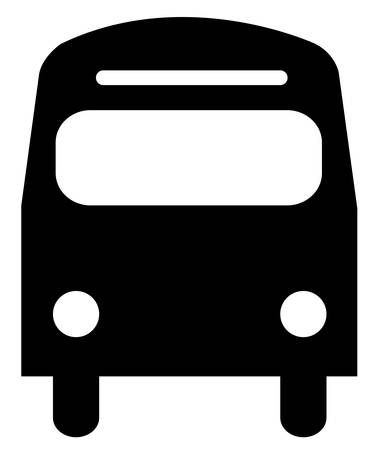 black silhouette illustration of the front of a bus