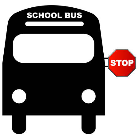 school bus with red stop sign - illustration