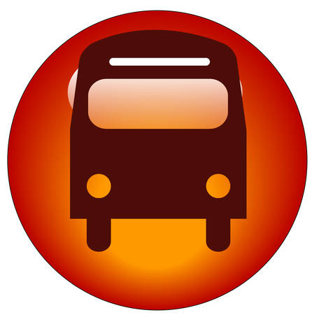 red bus web button or icon - transportation concept Ilustrace