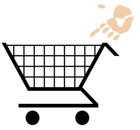 hand pointing into shopping basket - add to cart Illusztráció