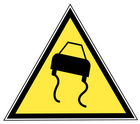 road slippery pictogram on a yellow triangular sign