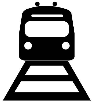 black silhouette illustration of the front of an train