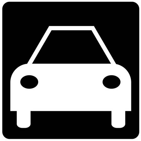 black and white illustration of the front of a car