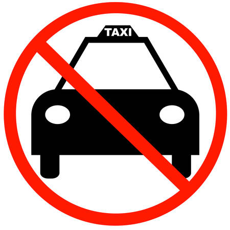taxi cab with red not allowed symbol - no taxi parking  Illustration