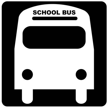 black and white illustration of the front of a school bus Illustration