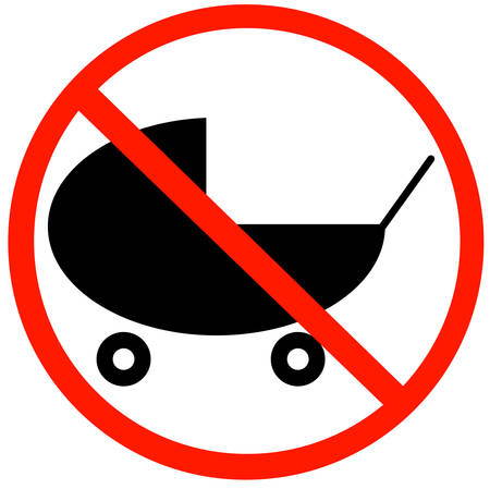 buggy or stroller with not allowed symbol -  strollers not allowed sign