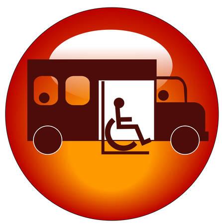 button or icon of paratransit bus picking up passenger