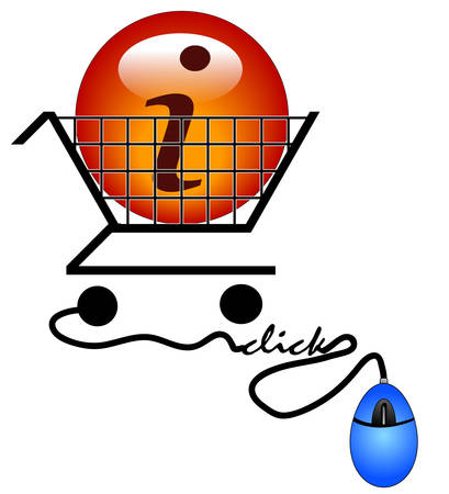 shopping on the internet for information - illustration Illustration