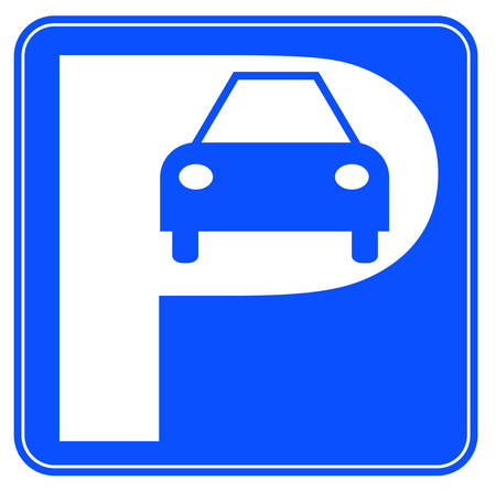 blue and white car parking sign - illustration Illustration