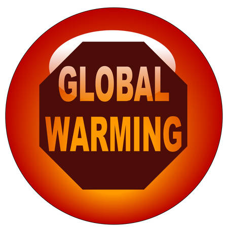red button or icon - stop global warming